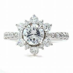 engagement ring diamond halo moissanite center snowflake With snowflake wedding ring set