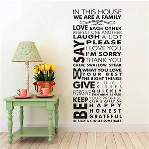 Large we are family in this house vinyl family wall for Wall decals for home