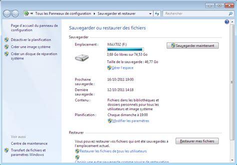 sauvegarde bureau windows 7 sauvegarde image système disque de réparation système