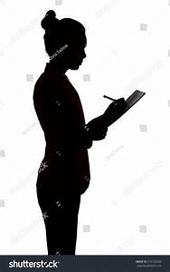 Business Woman Writing Something Silhouette On Stock Photo ...