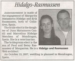 wedding announcement in newspaper american in spain With wedding announcement ideas for newspaper