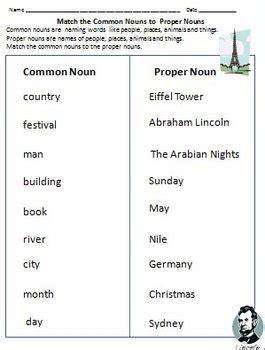 nouns common nouns proper nouns worksheets for grade 1