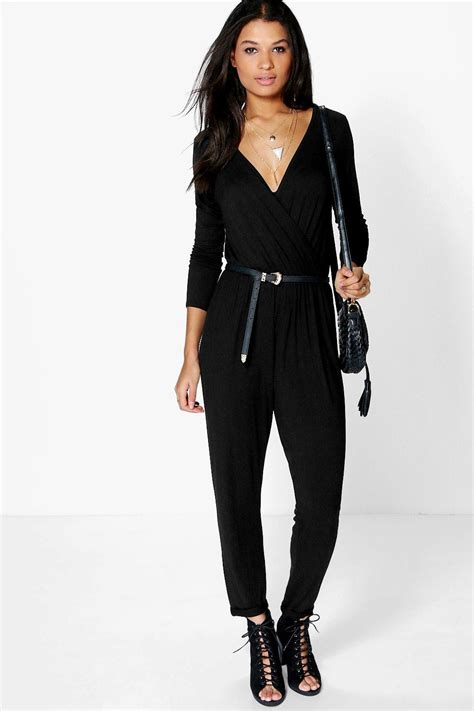 womens casual jumpsuits boohoo womens wrap front casual jumpsuit ebay
