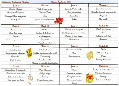 menu cantine scolaire