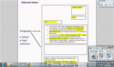 informal letter format gcse writing  gcse english