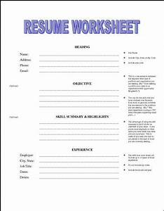 Printable resume worksheet free http jobresumesample for Free printable resume worksheet