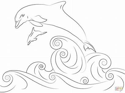 Coloring Water Dolphins Colouring Jumping Wasser Delfine
