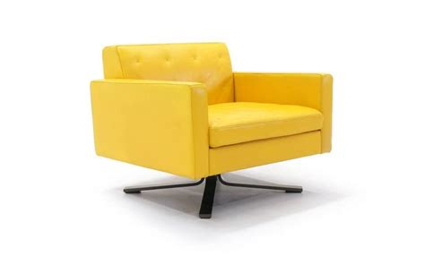 poltrona frau kennedee series yellow leather memory swivel