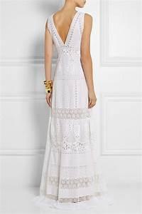 roberto cavalli robe longue en broderie anglaise de With robe coton longue