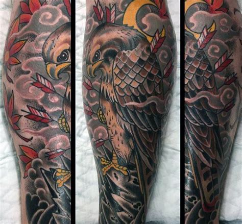 falcon tattoo designs  men winged ink ideas