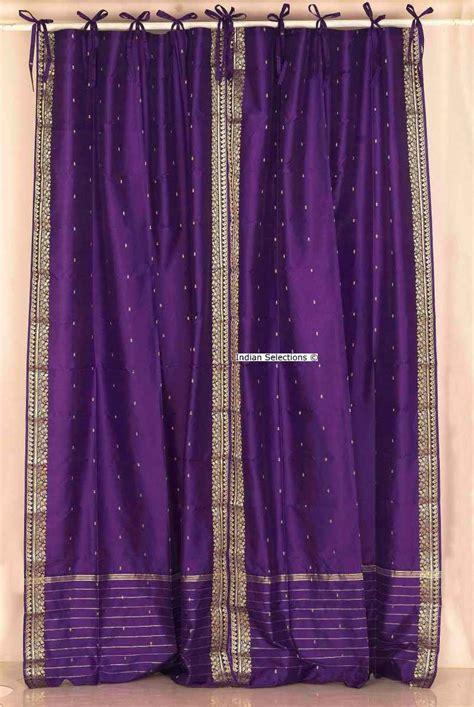 purple tie top sheer sari curtain drape panel