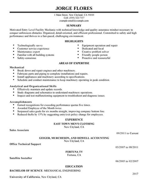 Entry Level Resume by Best Entry Level Mechanic Resume Exle Livecareer