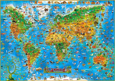 Animal World Map Wallpaper - children s animals of the world wall map paper stanfords