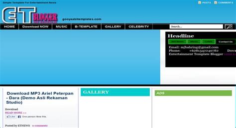 Templates Entertainment Blog by Entertainment 1 0 Fix Template 2014 Free Download