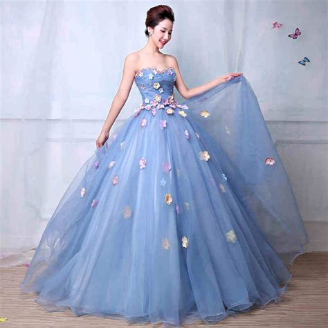 pastel floral baby blue tulle strapless sweetheart prom