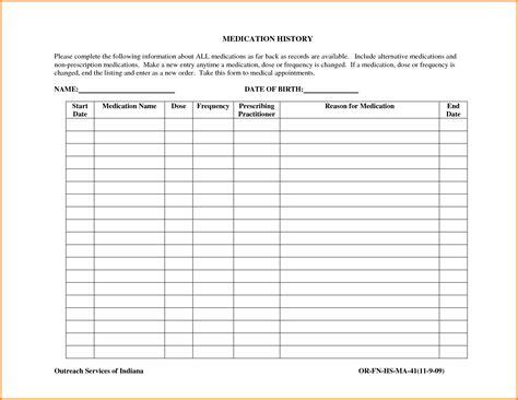 Medication List Template Medication List Template Authorization Letter Pdf