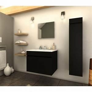 ensemble meuble salle de bain quotlatinaquot 60cm noir mat With ensemble meuble salle de bain 60 cm