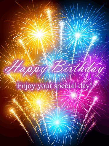 carnival fireworks happy birthday card birthday