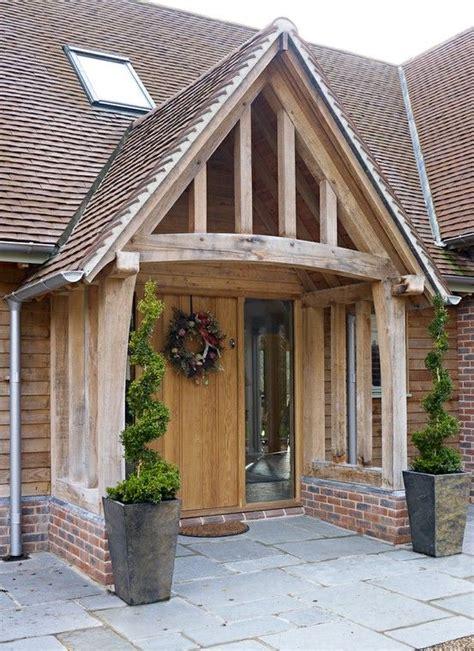 Oak Porch On A New Build Barn Home  House Entrances