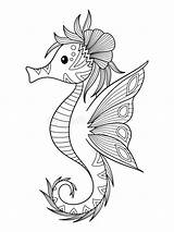 Seahorse Coloring Sea Hippocampe Doodle Colorir Dessin Colorare Ippocampo Mare Libro Della Illustrazione Cavalo Marinho Cartoon Mer Drawing Coloriage Zentangle sketch template