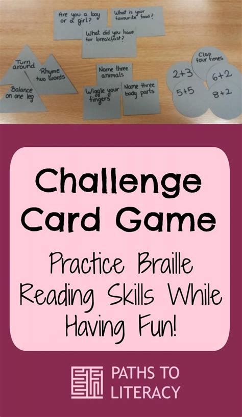 challenge card game practice braille reading skills
