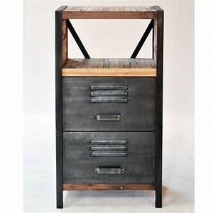 Meuble Bois Et Fer : meuble d 39 appoint 2 tiroirs industriel fer d poli et lattes de bois de bateau recycl pas cher en ~ Preciouscoupons.com Idées de Décoration