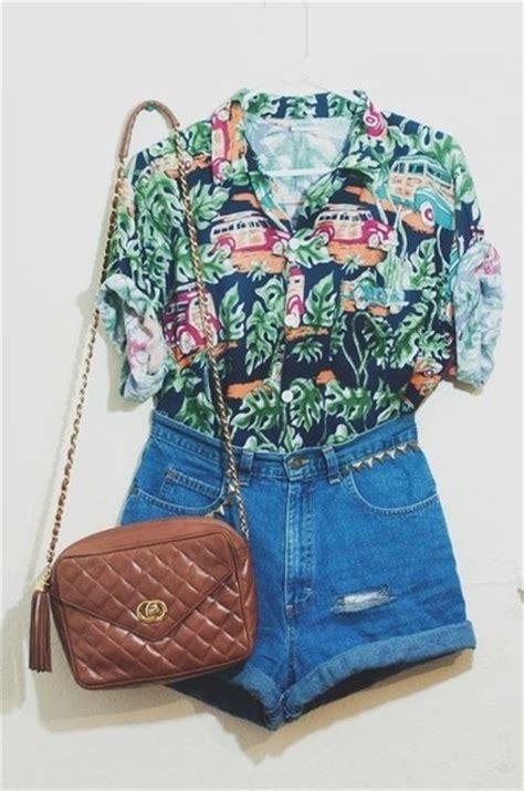 Shorts t-shirt bag shirt hawaiian cute high waisted brown pleather tumblr blouse high ...