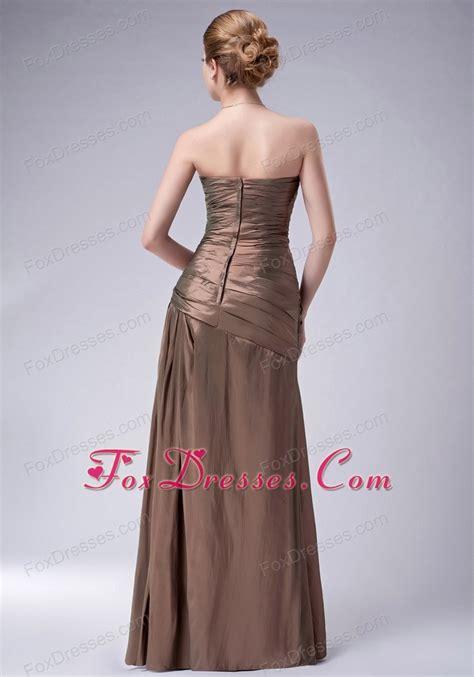 brown ruching floor length mother   bride dresses