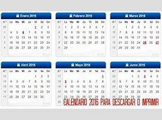 Calendario 2016 para descargar e imprimir