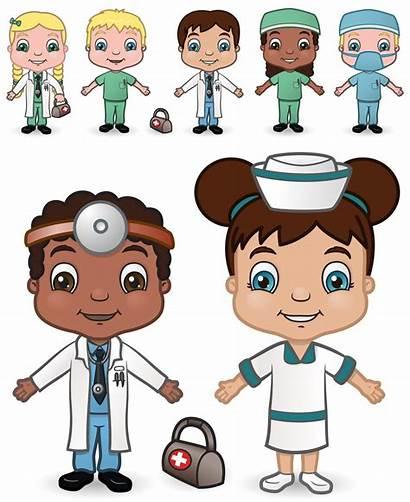 Doctor Nurse Children Illustrations Cartoon Vector Kid