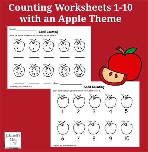 counting worksheets     apple theme