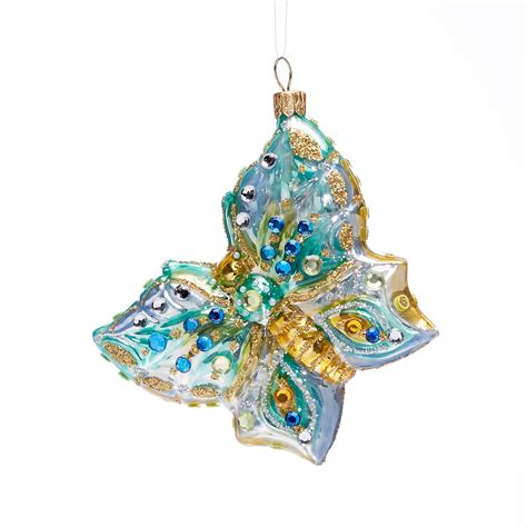 turquoise gold glass butterfly christmas ornament gump s