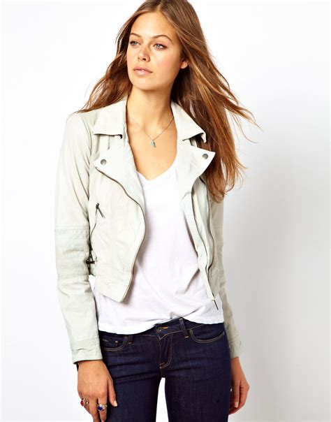Pepe Jeans Leather Jacket in Cream (Natural) - Lyst