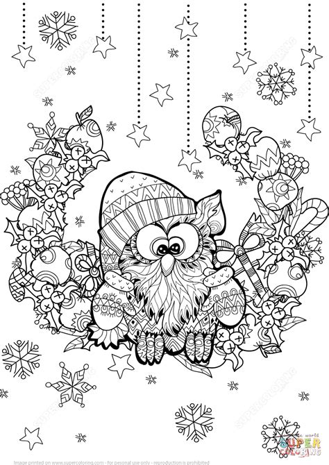 christmas owl zentangle coloring page  printable coloring pages