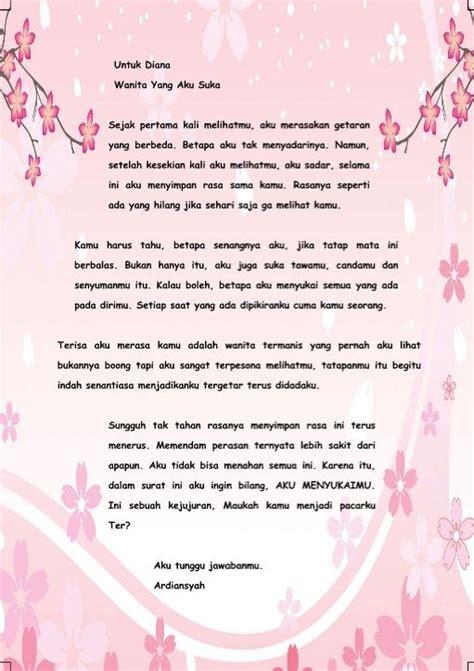 contoh surat cinta ungkapkan perasaan pertama  format