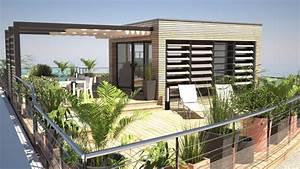 Aménagement Toit Terrasse : am nagement d 39 une toiture terrasse avec sur l vation ossature bois en p riph rie de paris ~ Melissatoandfro.com Idées de Décoration