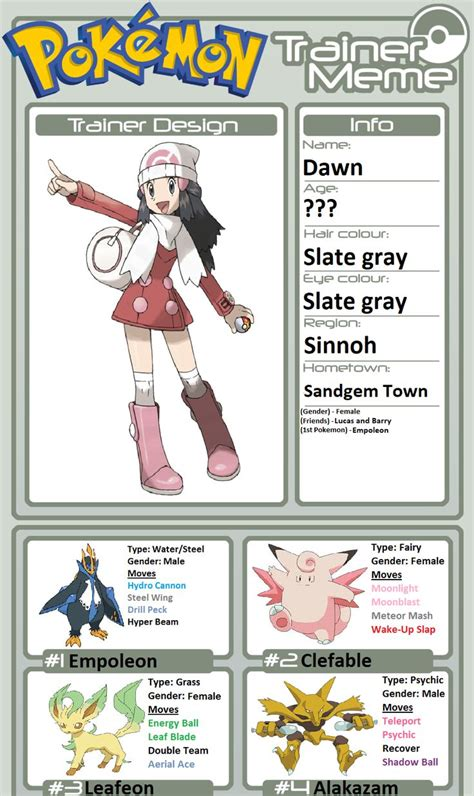 trainer profile dawn scary pokemon pokemon teams