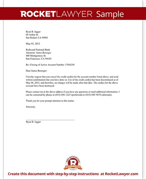credit card cancellation letter request  cancel