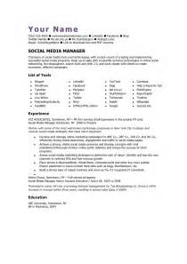 social media skills resume social media manager cv template