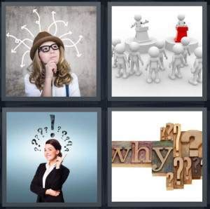 4 pics one word 6 letters 4 pics 1 word answer for think lecture idea why heavy 32925