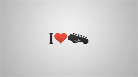 love guitar red heart creative wallpaper