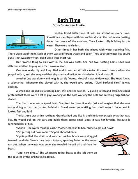 Bath Time  Reading Comprehension Worksheet