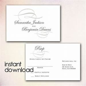 Diy wedding rsvp postcard template instant download microsoft word version gray elegant for Wedding rsvp templates
