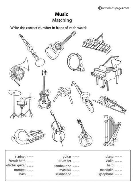 instruments matching b w worksheets projects with my grandson pinterest pictures of