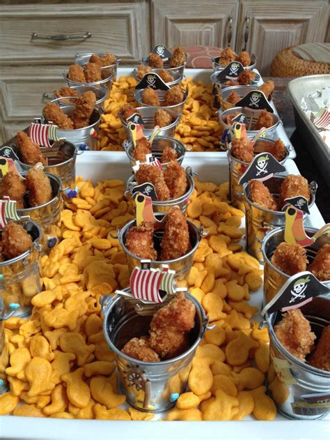 cuisine pirate pirate food chicken finger pails on a sea of