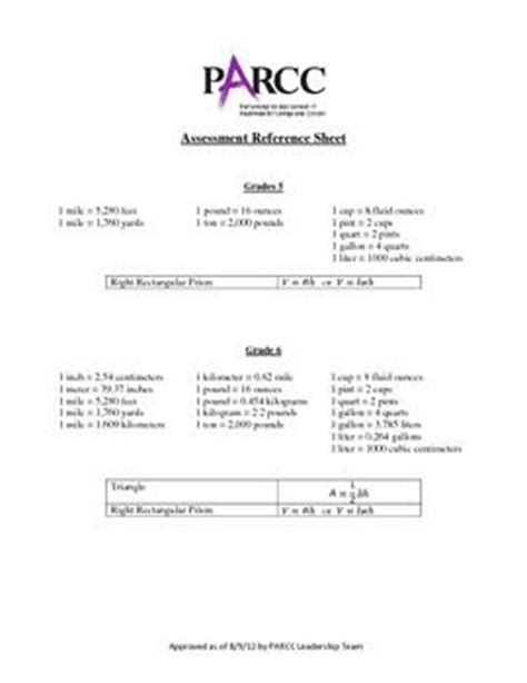 parcc reference sheet approved parcc reference sheet grades 5 8 teaching