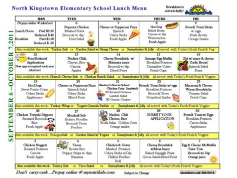 north kingstown public school lunch menus north kingstown ri patch