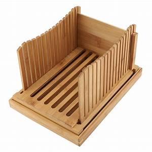 Tebru Foldable Bamboo Bread Slicer Guide  Bread Slicer