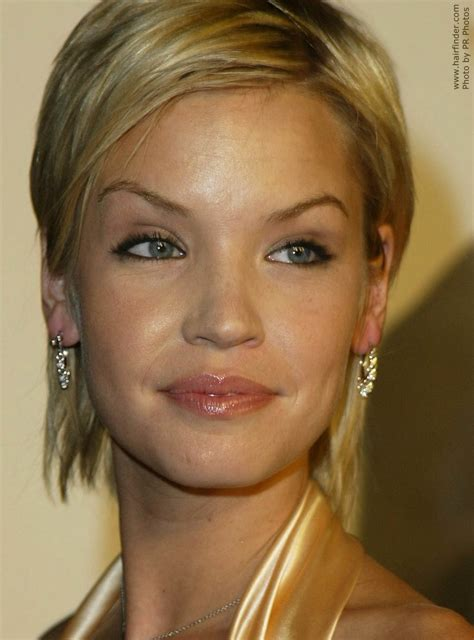 ashley scott neck length short hair colored  bring   blue   eyes