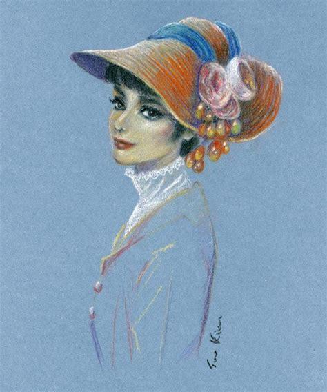 pastel drawing audrey hepburn  fair lady art
